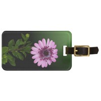 Pink Flower with Green Leaves Bag Tags