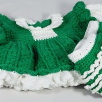 Crocheted Green Ruffled Dress Set