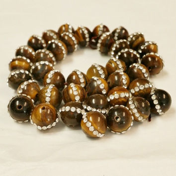 38 Brown Tiger Eye Rhinestone Beads, Swirl Agate Stone Beads, Beads for jewelry making, Semi Precious Beads, 11mm beads, Gemstone Beads