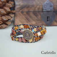 Leather Wrap Bracelet and Mixed Earth Tone Beads with Vintage Button