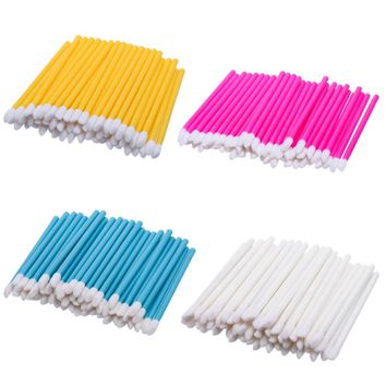 50 Pcs Makeup brushes Cotton and plastic Disposable Lip Brush  Lip Brush Gloss Wands Applicator Makeup Cosmetic Tool Beauty