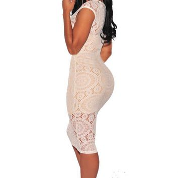 Chicloth Lace Dress Sleeveless Back Sexy Slim Dress New Solid Color