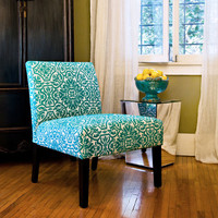 HOME Bradstreet Modern Damask Turquoise Blue Upholstered Armless Chair
