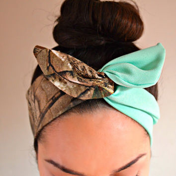Realtree Mint Dolly bow, Mint head band, hair bow
