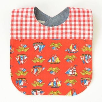 Vintage Fabric Patchwork Bib |  Nautical Ships + Gingham