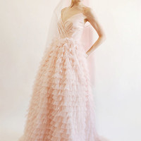 Brie - blush ruffled wedding dress
