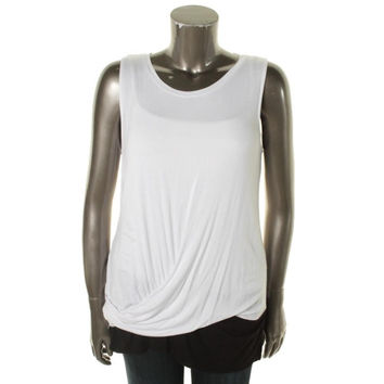 Kenneth Cole New York Womens Laurell Jersey Colorblock Tank Top