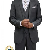 Mens Charcoal / Dark Grey Three Piece Suit (nx3)