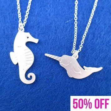 Sea Creatures Themed Seahorse and Narwhal 2 Piece Necklace Set in Silver