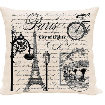French City Printed Pillow Cover, Home Decor Pillow, Throw Pillows, Accent Pillows, Pillow Cover , Worded Pillow