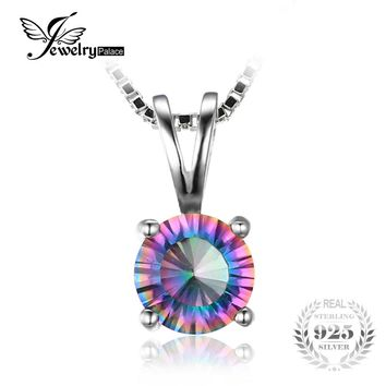 JewelryPalace Round Mystical Fire Rainbow Topaz Pendant Real 925 Sterling Silver Fine Jewerly For Women On Sale Without a Chain
