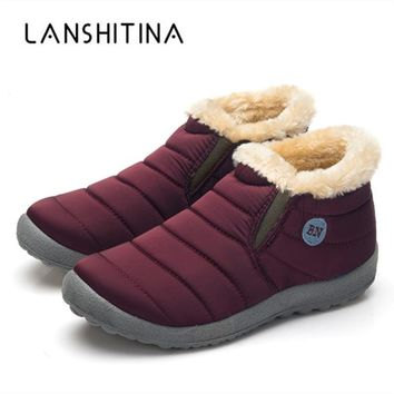 2018 New Winter Warm Snow Boots Cotton Inside Antiskid Bottom Warm Fur Waterproof Ski Boots Plush Inside Casual Shoes Size 35-48