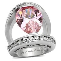 6CT Pear Cut Pink Sapphire White Sapphire Cocktail Ring