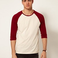 ASOS 3/4 Sleeve T-Shirt With Contrast Raglan Sleeves at asos.com