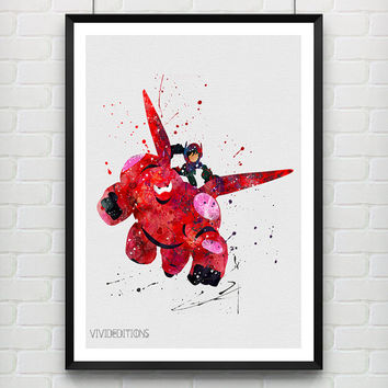 Baymax and Hiro Hamada Poster, Big Hero 6 Watercolor Print, Superhero Poster, Home Decor, Boy's Gift, Not Framed, Buy 2 Get 1 Free! [No 191]