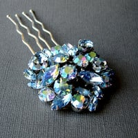 Blue Rhinestone Jeweled Hairpiece Vintage Jewelry Hair Comb Aurora Borealis Headpiece Wedding Formal Bridal Pageant Ballroom Recycled Chic