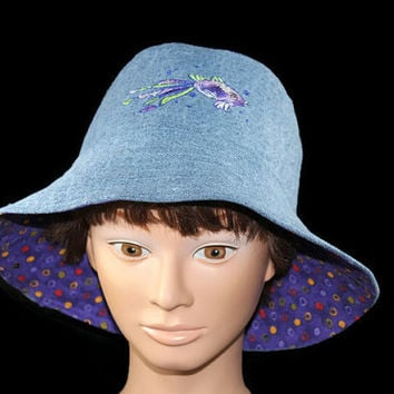 Girls Summer Bucket Hat Handmade Reversible Blue Denim/Purple Polka Dot Cotton Sun Hat Girl & 18 Inch Doll Matching Hats