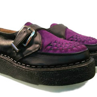 RESERVED for isk8: Men's Vintage John Fluevog George Cox Purple Suede & Leather Old School Crepe Sole Creepers sz 9