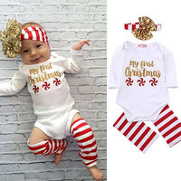 3pcs!!Newborn Kids Baby Boy Girls Christmas Infant Striped Sequin Jumpsuit Bodysuit+Leg Warmer+Headband Clothes Outfit 0-18M
