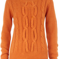 Orange plait detail jumper - Dorothy Perkins