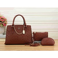 COACH Popular Ladies Metal Logo Leather Shoulder Bag Handbag Tote Clutch Bag Cosmetic Bag Set Three-Piece Brown I-KSPJ-BBDL
