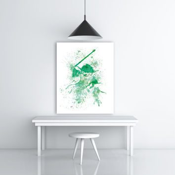 Star Wars Yoda Watercolor Splash Art, Yoda Print, Star Wars Wall Decor, Yoda Painting Art, Jedi Master Yoda Art, Green Art, Yoda Poster