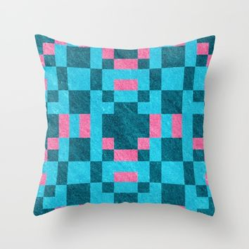 Teal Pink Pixel Pattern Throw Pillow by Likelikes | Society6