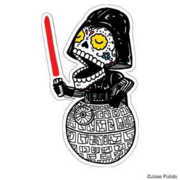 Star Wars Inspired Darth Vader Calavera Die Cut Clear Vinyl Sticker Sugar Skull - Day of the Dead - Weather Proof Decal