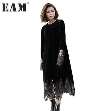 [EAM] 2017 Autumn Winter Fashion New O-neck Organza Stitching Velvet Dress Tide All-match Long Sleeve With Pockets Women YA49901