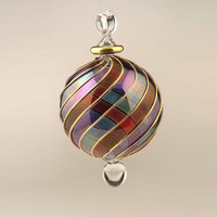 Blown Glass ball Christmas Ornament - large Ornament