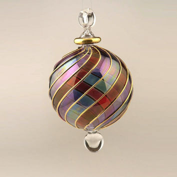 blown glass ball christmas ornament large ornament - Blown Glass Christmas Ornaments