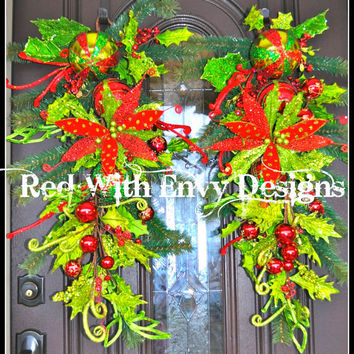 Set of Whimsical RAZ Christmas Swag, Christmas Swag, Wreath, Holiday Wreath, Christmas Wreath, Christmas, Wreath