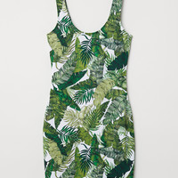 Sleeveless Jersey Dress - White/leaf-patterned - Ladies | H&M US