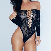 Black Net and Lace Romper, Black Lace Teddy, Black Netted Romper