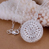 silver plated Jewelry Pendant Fine Fashion Cute 925 jewelry silver plated Round Bag Necklace Pendants Top Quality CP136