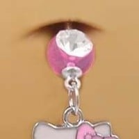 Pretty Cute Pink Hello Kitty Head Face Dangle Belly button Navel Ring 14 gauge