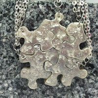 Puzzle Piece Necklace Set of 5 Bridesmaid or Best Friend Pendants Polymer Clay