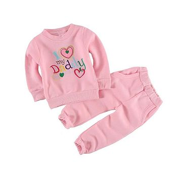 Baby boy clothing set casual children sets children's tracksuits sport suit set Love daddy 100% cotton sweatshirts/coats+trousers