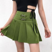 Fashion Summer New Style Sexy Army Green Ring Button Waist Pleated Skirt