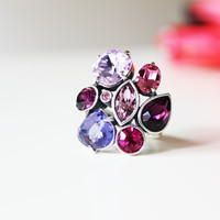 Rhinestone Ring- Swarovski Elements Purple Pink Ring Fashion Jewelry Statement Ring Cocktail Ring