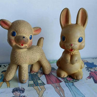 1950s Rempel Ohio Lamb Bunny Vintage kitsch soft Rubber metal Squeak toy pair instant collection lot rabbit sheep