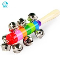 Wooden Baby Rattle toys for kids baby toy for 0-12months Rainbow colorful Educational Handle Music toys bell
