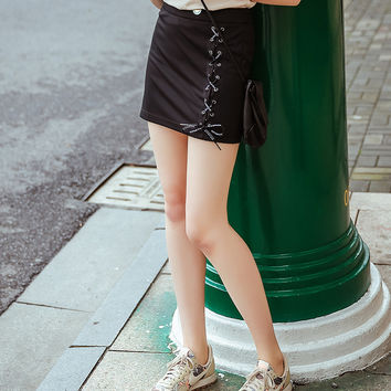 Summer Strong Character Stylish Sexy Black Ladies Skirt [8082579591]