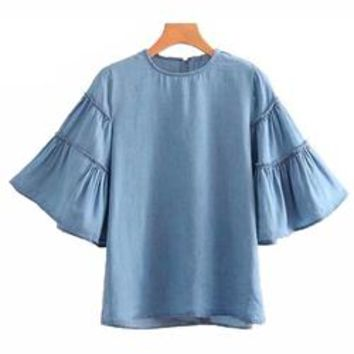 'Lillian' Ruffle Flare Sleeve Chambray Top