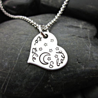 To the moon and back - Stainless steel heart necklace