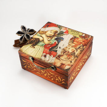 Waiting for Christmas Wooden Box for tea,spices or jewelery ,Christmas decor , Christmas box , candy-box ,Christmas gift