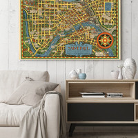 Vintage Pictorial Map of St. Paul| Old Map of Minnesota| Saint Paul Old Map| Fine Reproduction Maps for Wall Decoration| Wall Art| AMC184