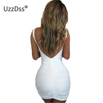 UZZDSS Sexy Mini Bodycon Drape Bacckless Dress Summer Short Slim Bandage Pencil Dresses Club Party Beach Casual Style Vestidos