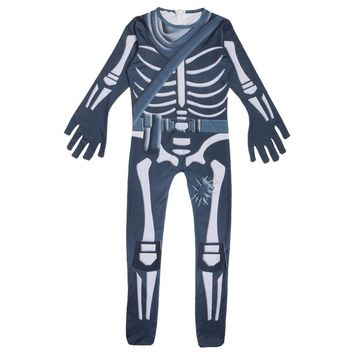 Skull Trooper Cosplay Costume Jumpsuit Halloween Scary Costume Zombie Skeleton Terror Clothing for Adult and Kids Child