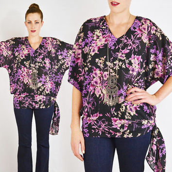 vintage 80s black purple SHEER FLORAL KIMONO blouse top / kimono sleeve blouse / batwing sleeve blouse / batwing blouse / boho blouse / s m